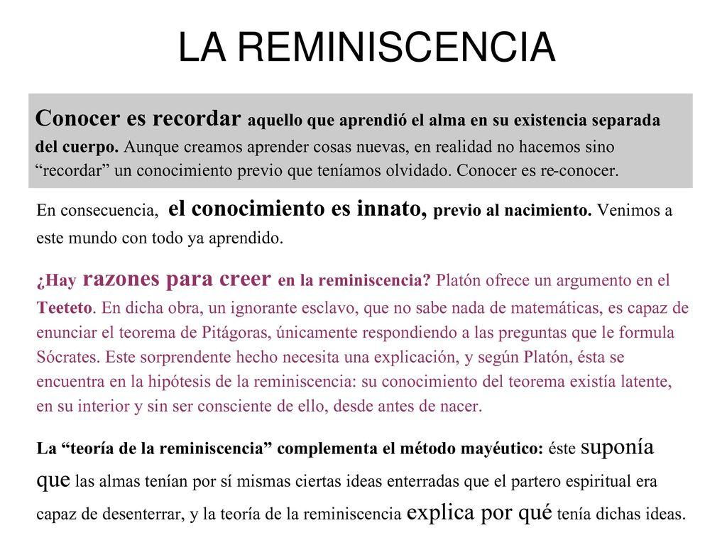 Resultado de imagen de REMINISCENCIA DE PLATON IMAGENES