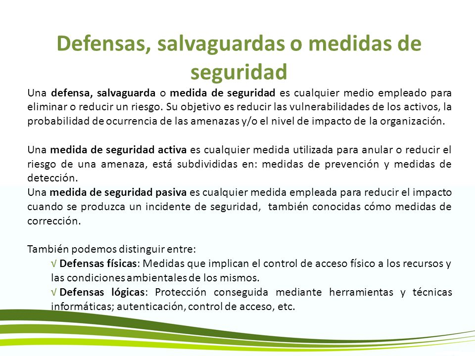 Defensas, salvaguardas o medidas de seguridad
