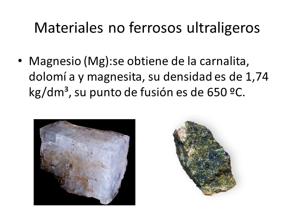 Materiales no ferrosos ultraligeros