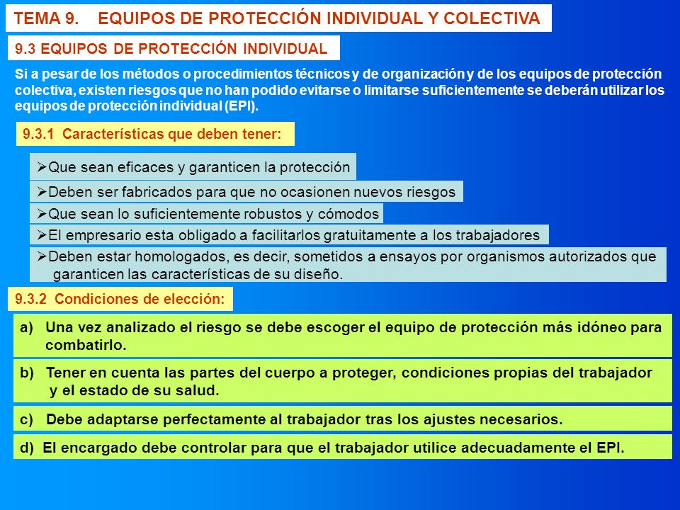 TEMA 9. EQUIPOS DE PROTECCIÓN INDIVIDUAL Y COLECTIVA - ppt descargar a19e87da13