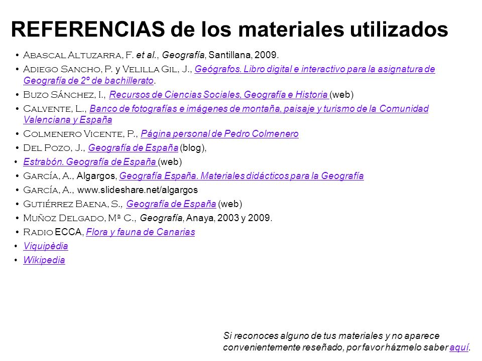REFERENCIAS de los materiales utilizados