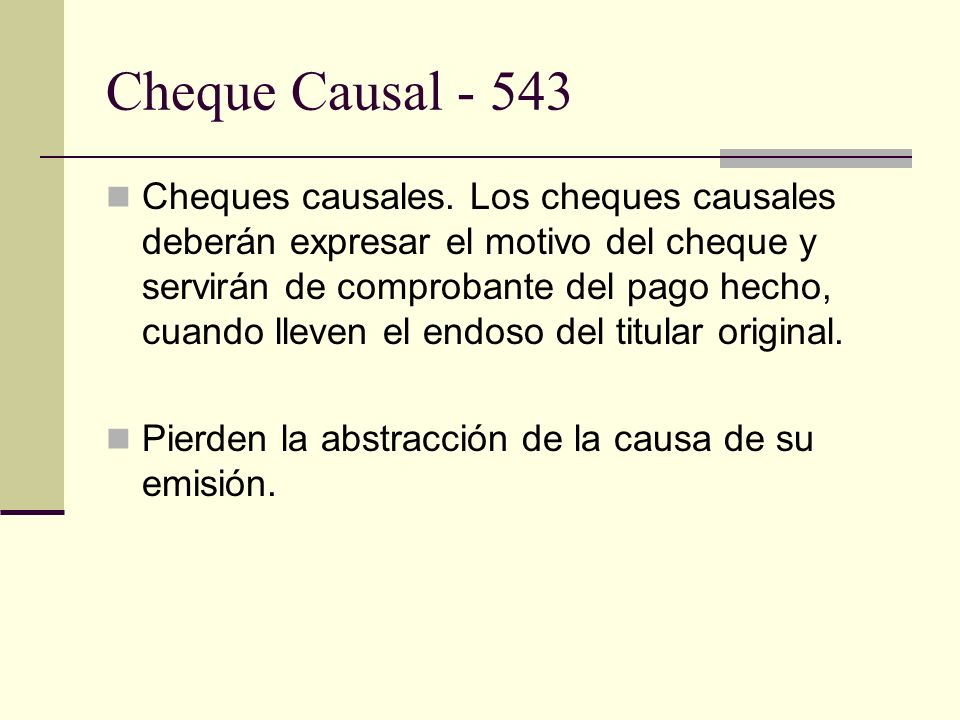 Cheque Causal - 543