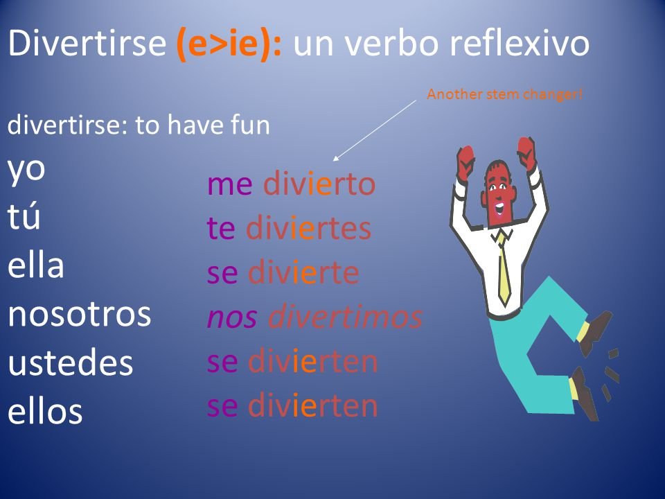 Divertirse (e>ie): un verbo reflexivo