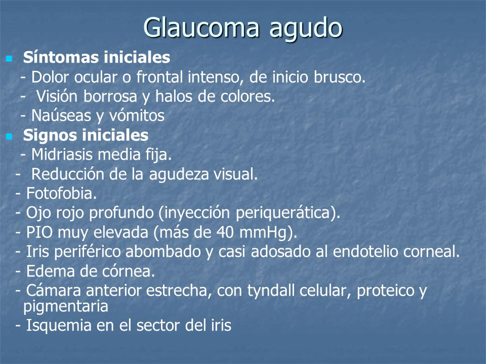 Glaucoma sintomas iniciales