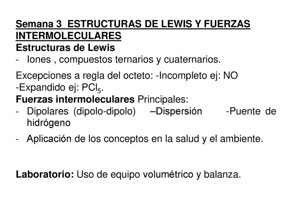 Semana 3 Estructuras De Lewis Y Fuerzas Intermoleculares