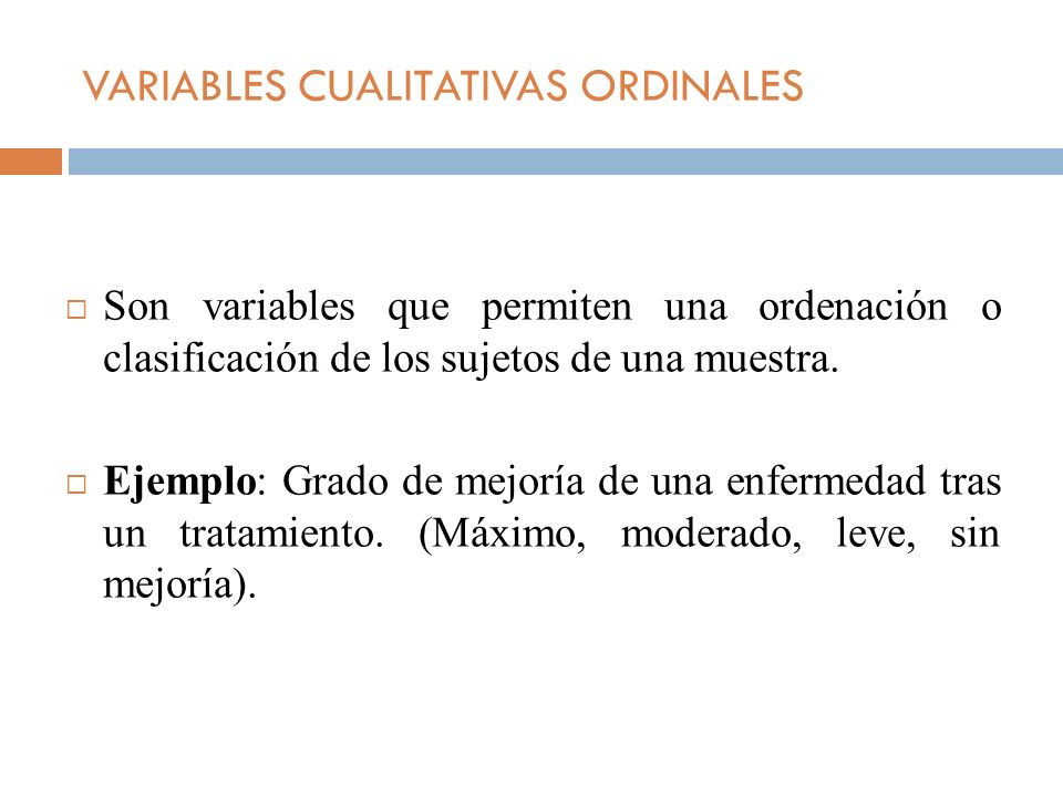 VARIABLES CUALITATIVAS ORDINALES