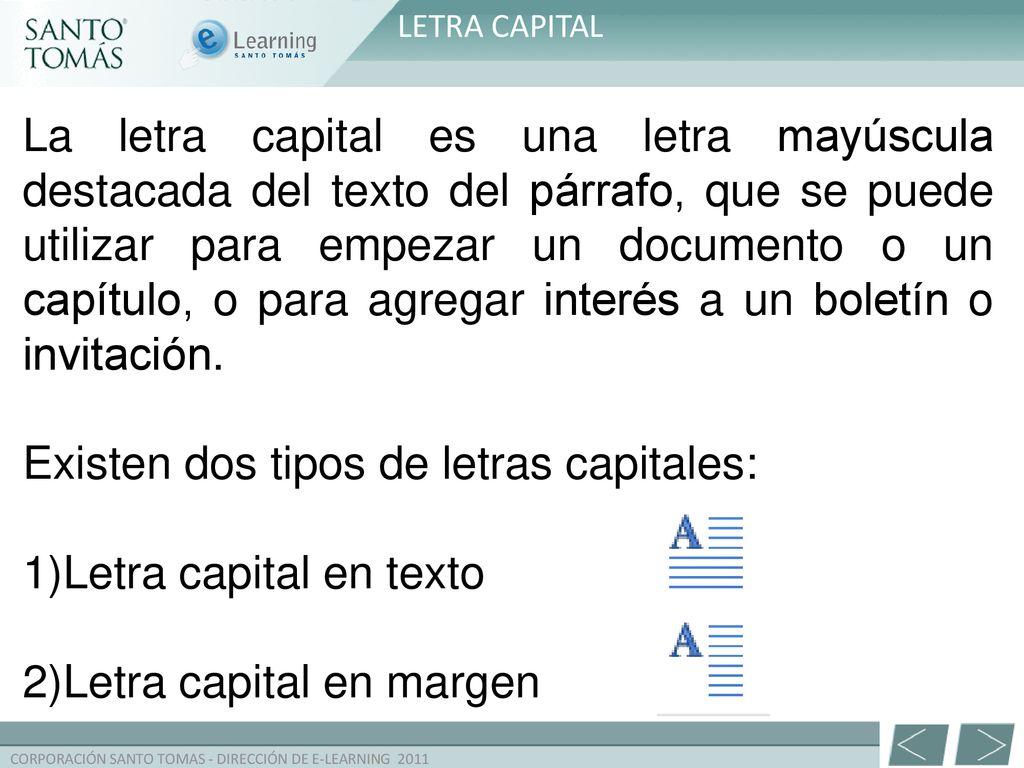 Que Tipos De Letra Capital Hay Letra Capital en Word Disco Duro de ...