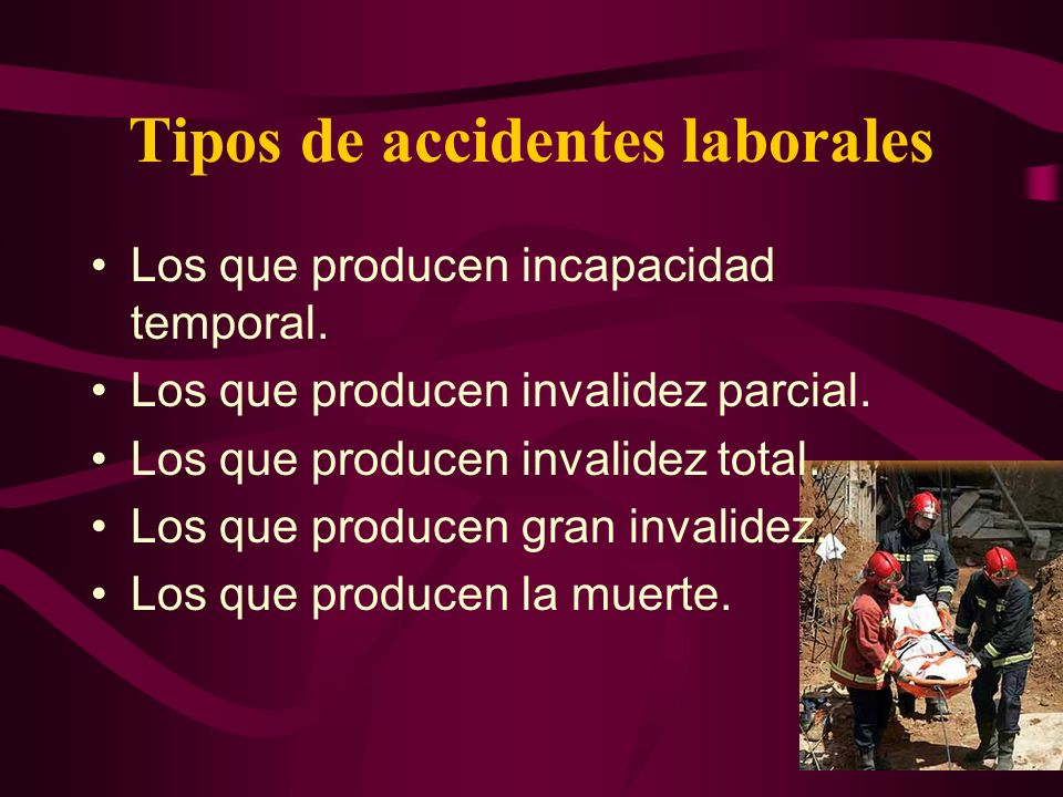 Tipos de accidentes laborales