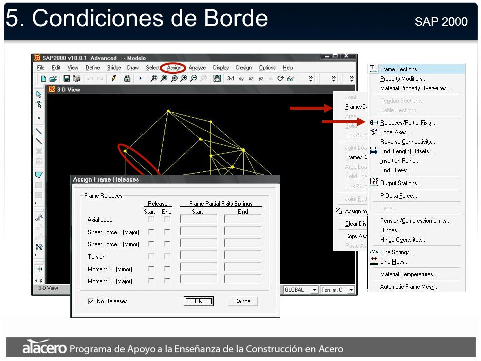 5. Condiciones de Borde SAP 2000