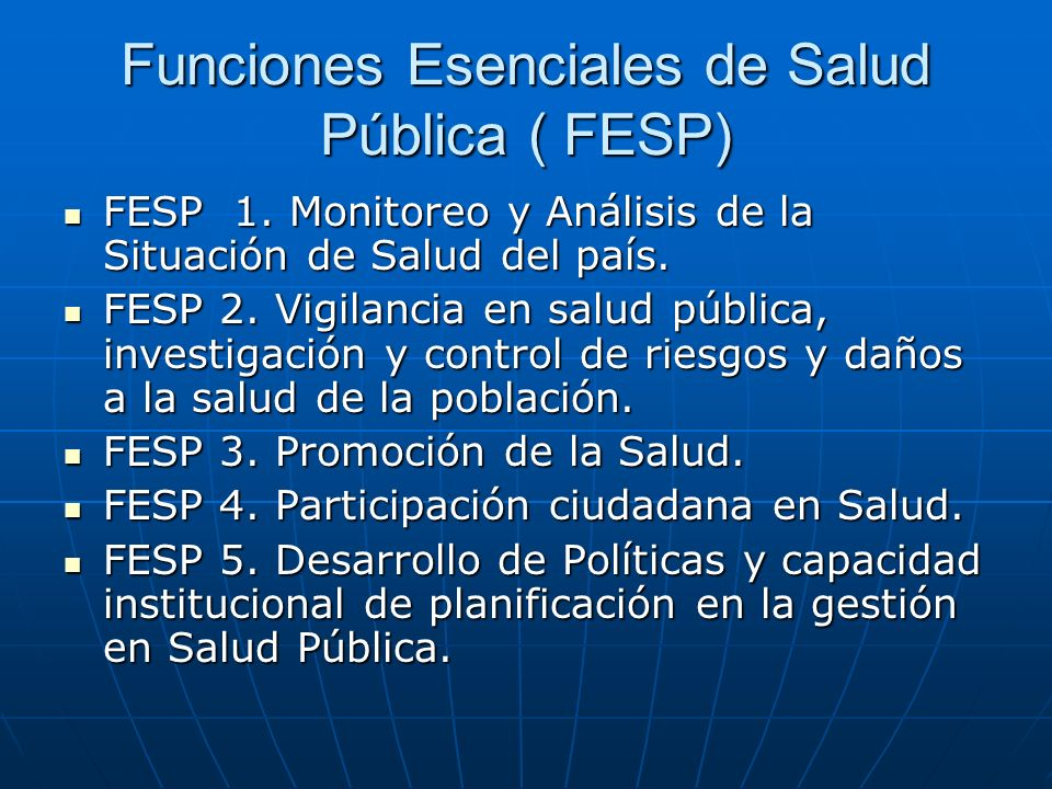 FUNCIONES ESENCIALES DE SALUD PUBLICA - ppt descargar