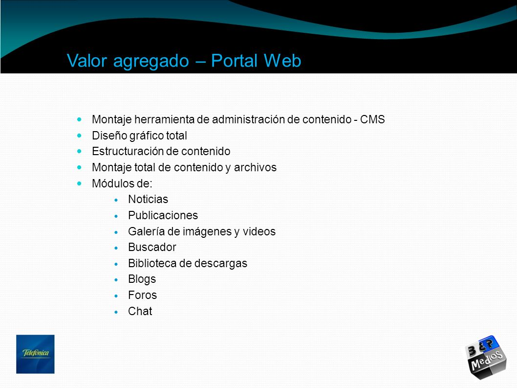 Valor agregado – Portal Web