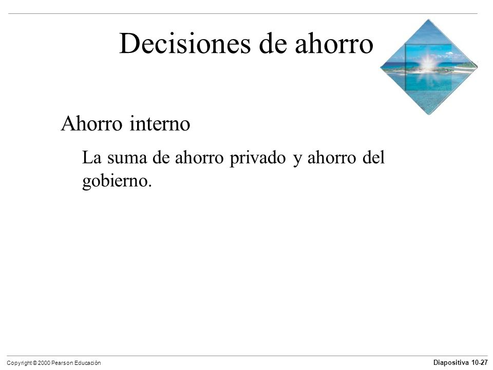 Decisiones de ahorro Ahorro interno