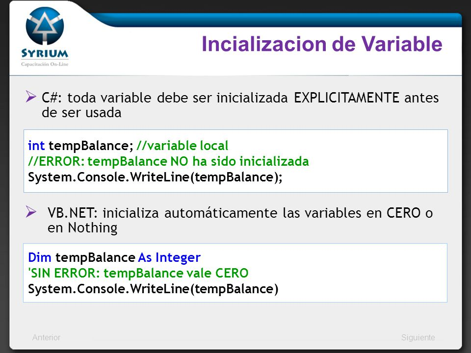 Incializacion de Variable