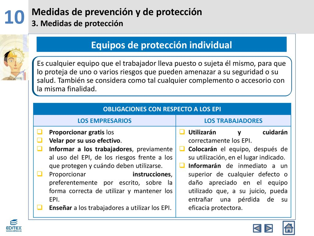 70763340e5af3 Equipos de protección individual OBLIGACIONES CON RESPECTO A LOS EPI