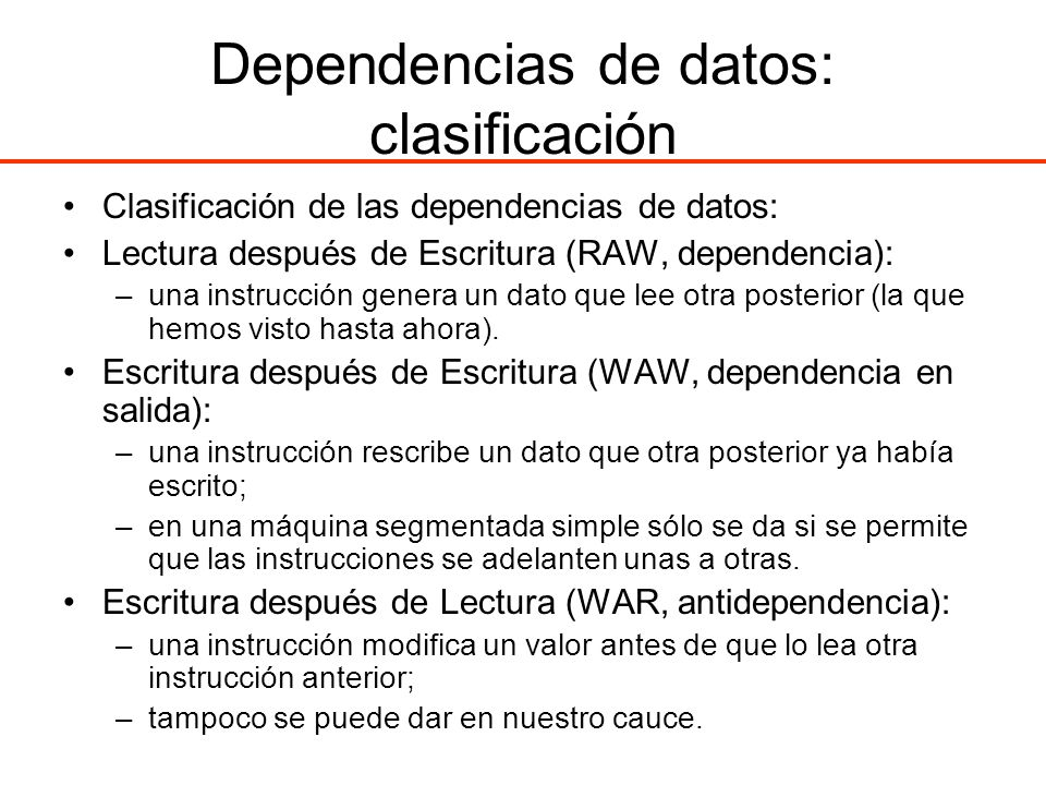 Dependencias de datos: clasificación
