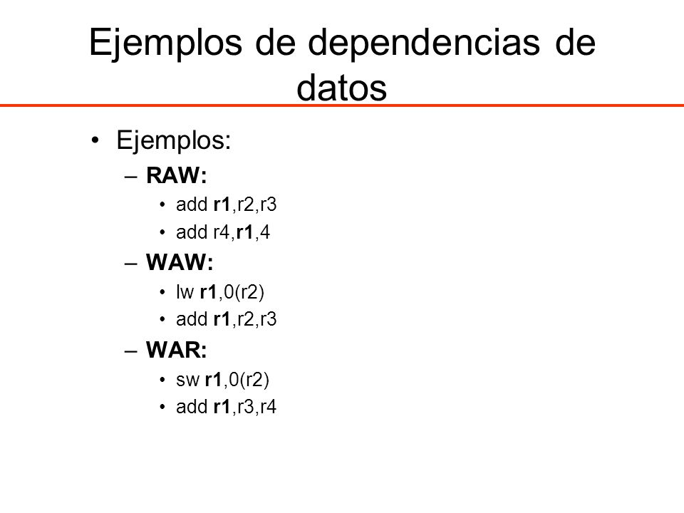 Ejemplos de dependencias de datos