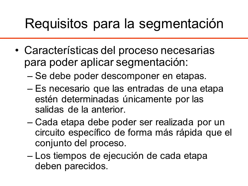 Requisitos para la segmentación