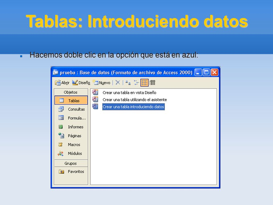 Tablas: Introduciendo datos