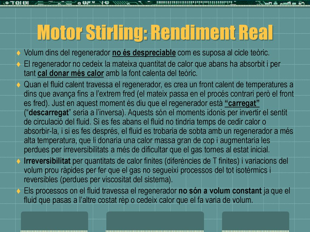 Motor Stirling: Rendiment Real