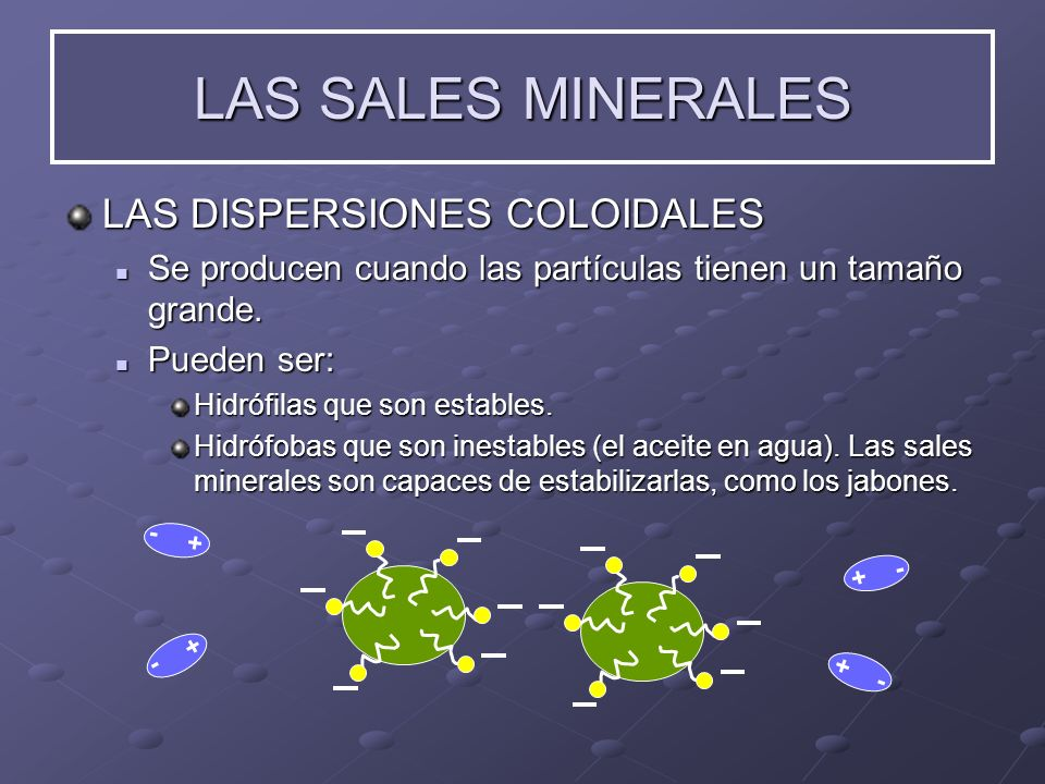 LAS SALES MINERALES LAS DISPERSIONES COLOIDALES