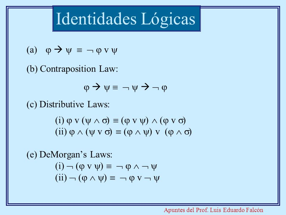Identidades Lógicas       v  (b) Contraposition Law: