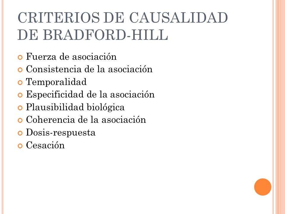 CRITERIOS DE CAUSALIDAD DE BRADFORD-HILL