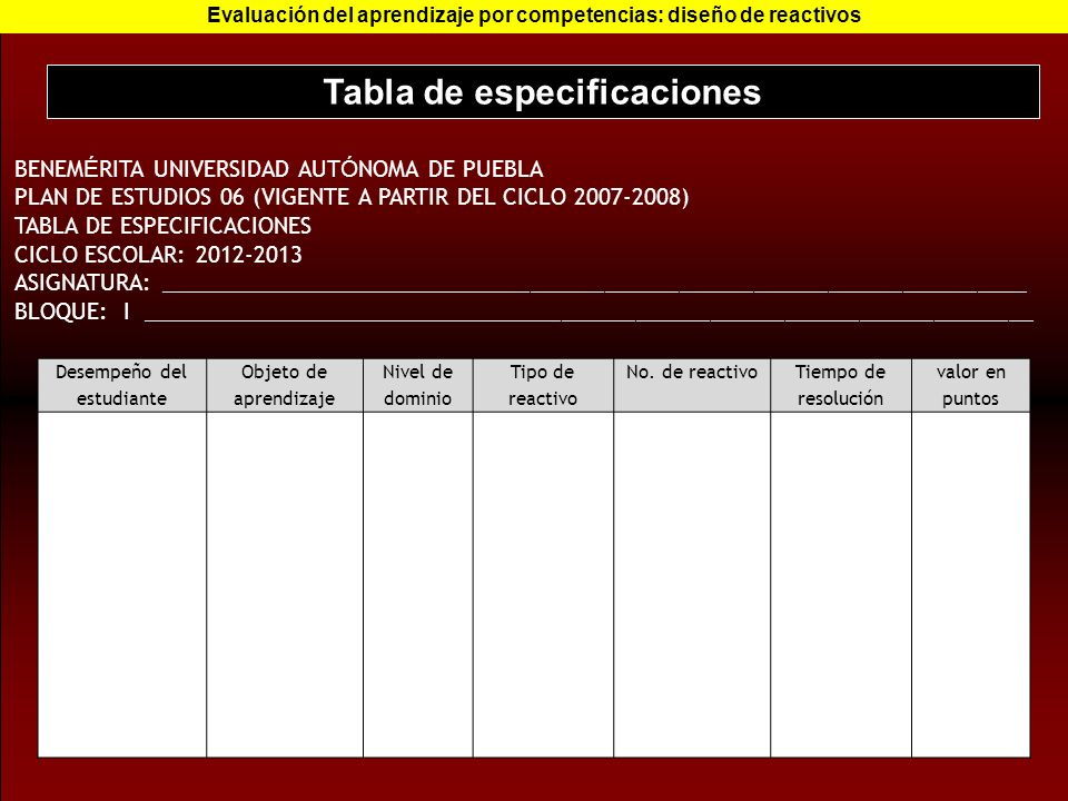 Tabla de especificaciones