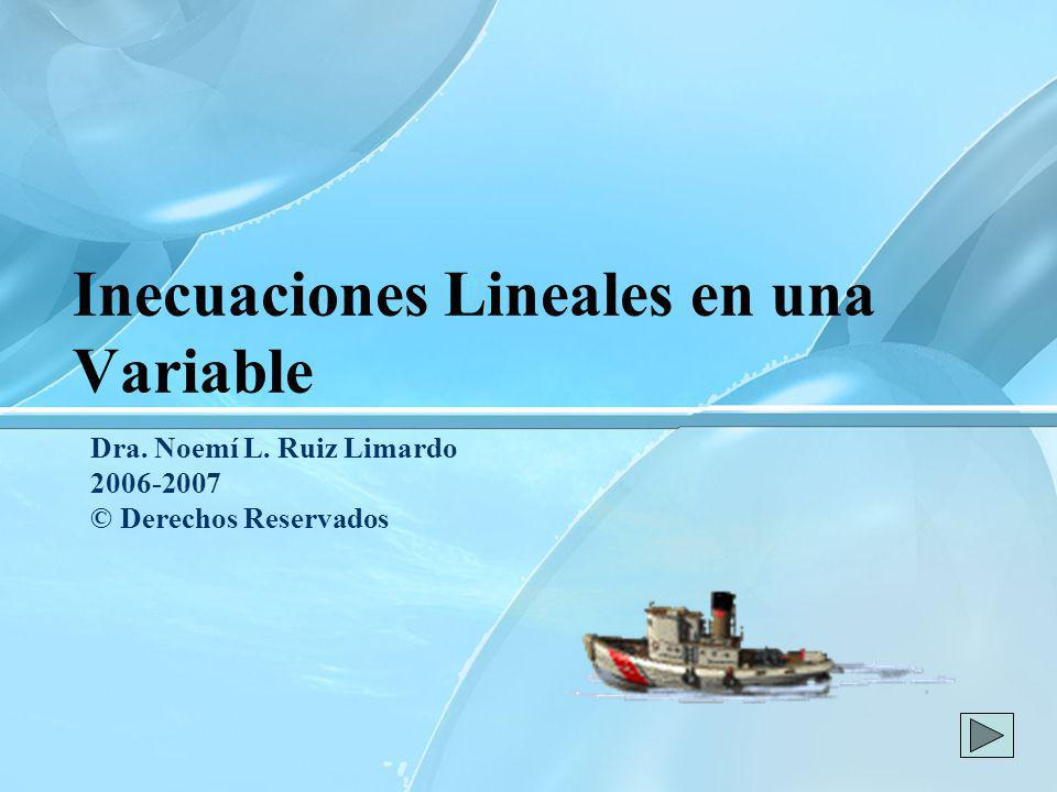 Inecuaciones Lineales en una Variable