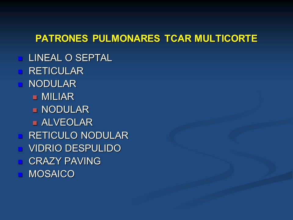 PATRONES PULMONARES TCAR MULTICORTE