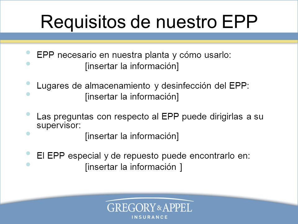 Requisitos de nuestro EPP