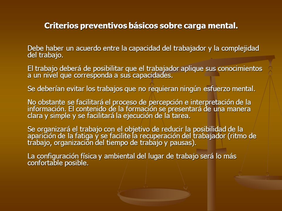 Criterios preventivos básicos sobre carga mental.