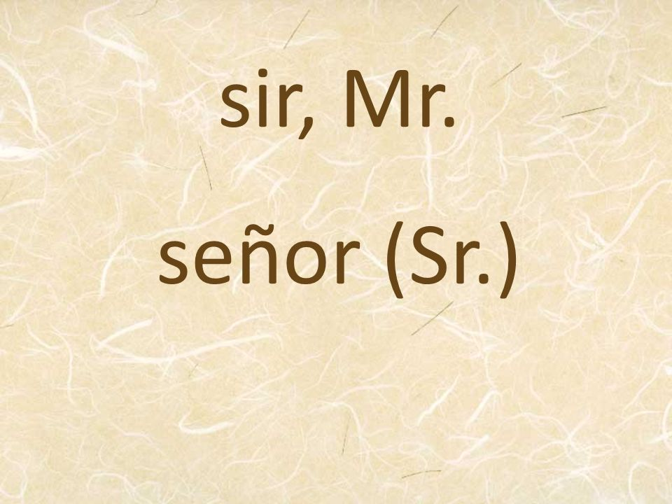sir, Mr. señor (Sr.)