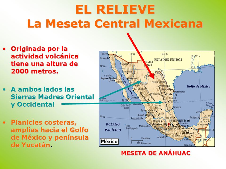 EL RELIEVE La Meseta Central Mexicana