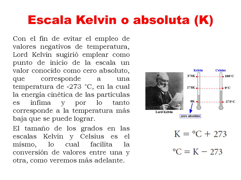 Escala Kelvin o absoluta (K)