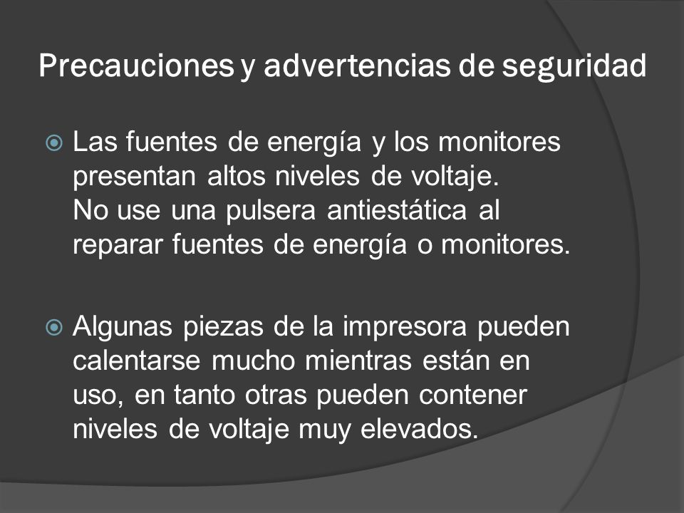 Precauciones y advertencias de seguridad