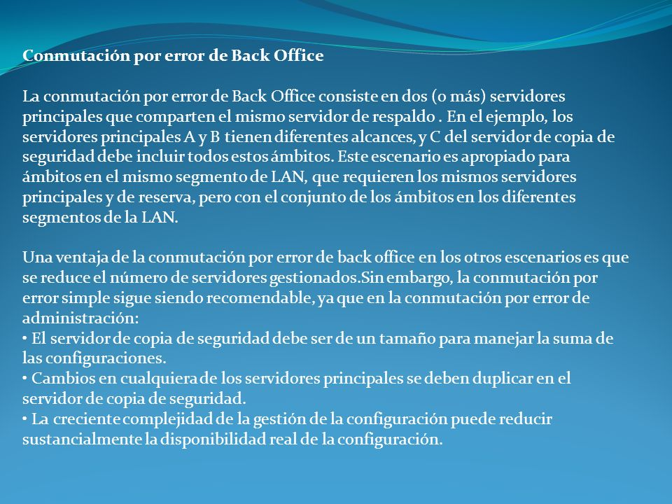 Conmutación por error de Back Office