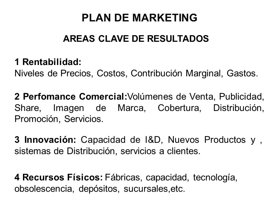 PLAN DE MARKETING AREAS CLAVE DE RESULTADOS 1 Rentabilidad: