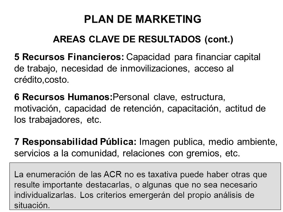 PLAN DE MARKETING AREAS CLAVE DE RESULTADOS (cont.)