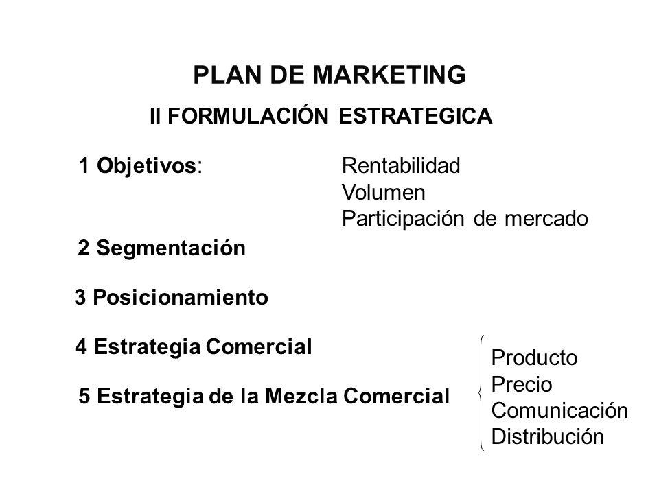 PLAN DE MARKETING II FORMULACIÓN ESTRATEGICA 1 Objetivos: Rentabilidad