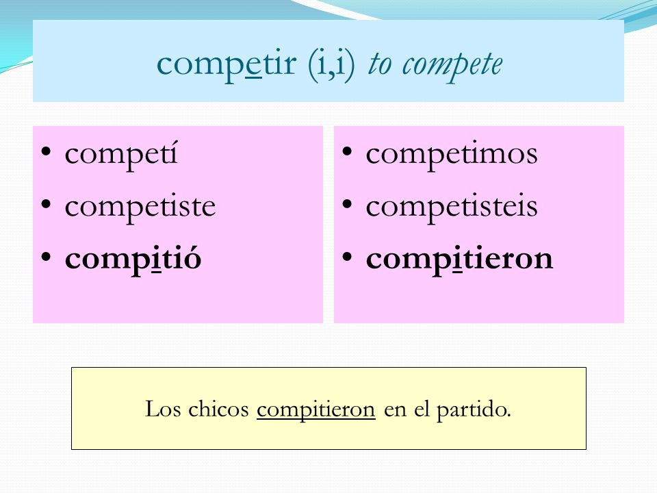 competir (i,i) to compete