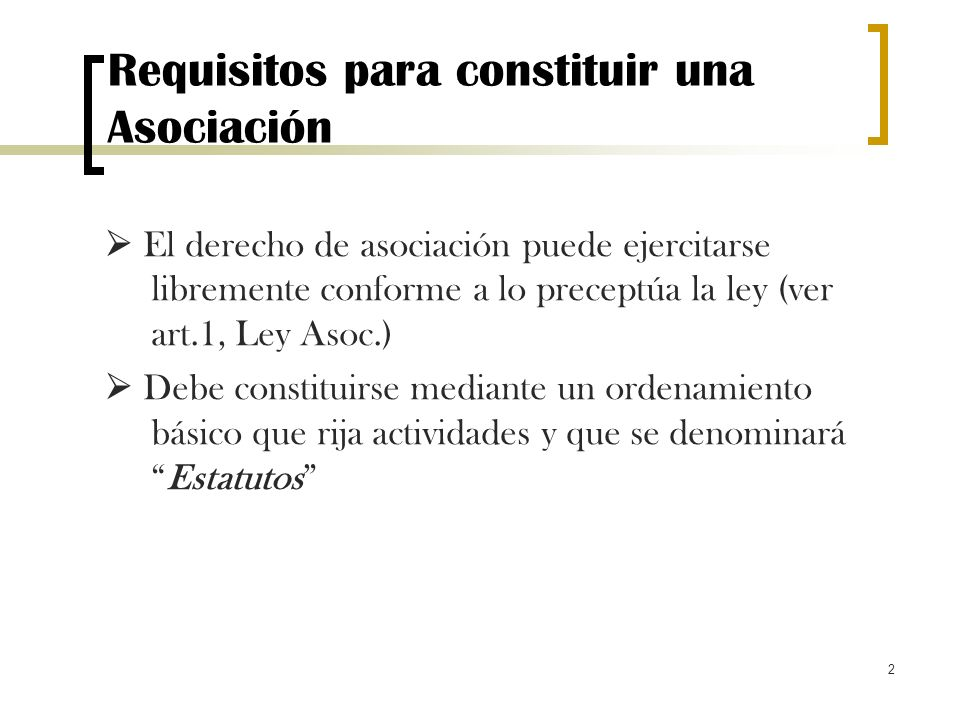 Requisitos para constituir una Asociación
