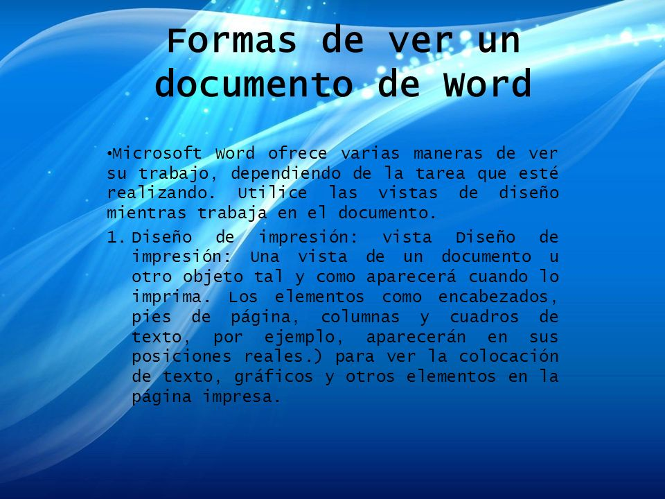Formas de ver un documento de Word