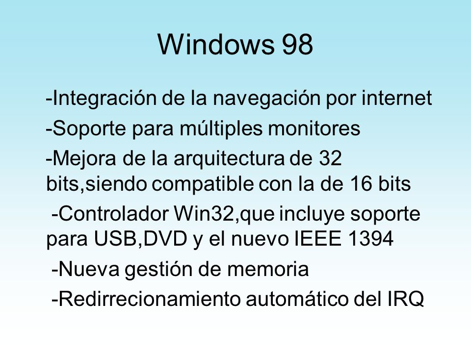 Windows 98 -Integración de la navegación por internet