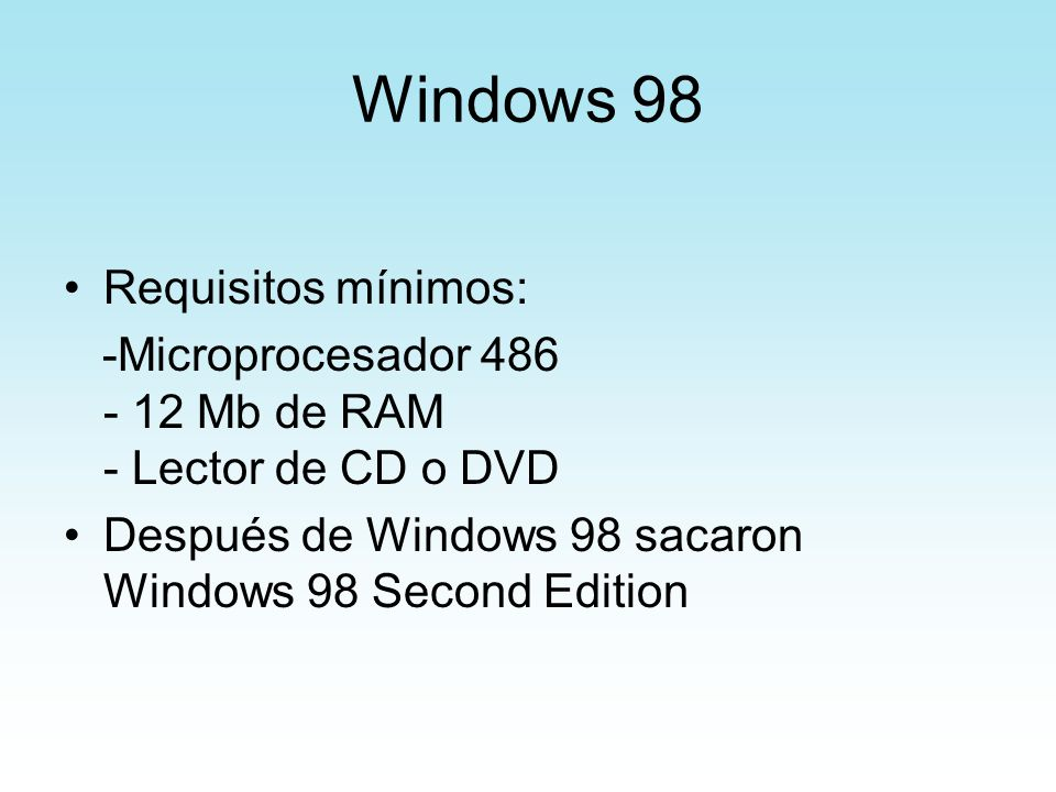 Windows 98 Requisitos mínimos: