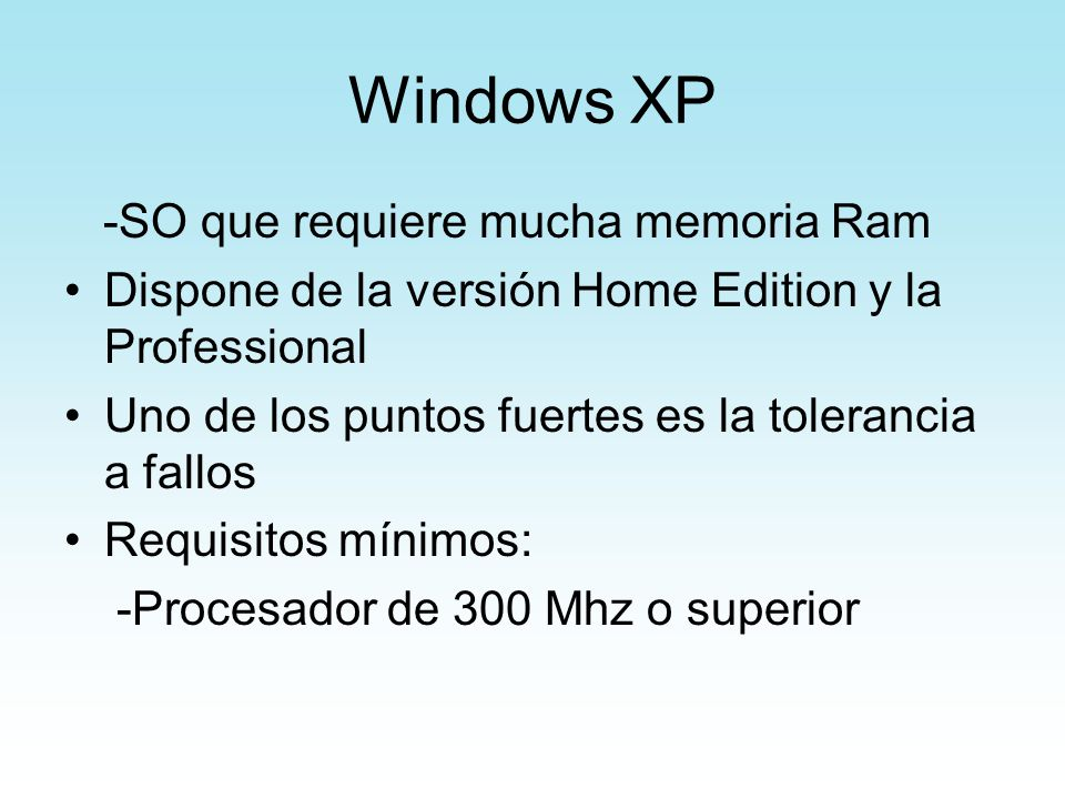 Windows XP -SO que requiere mucha memoria Ram