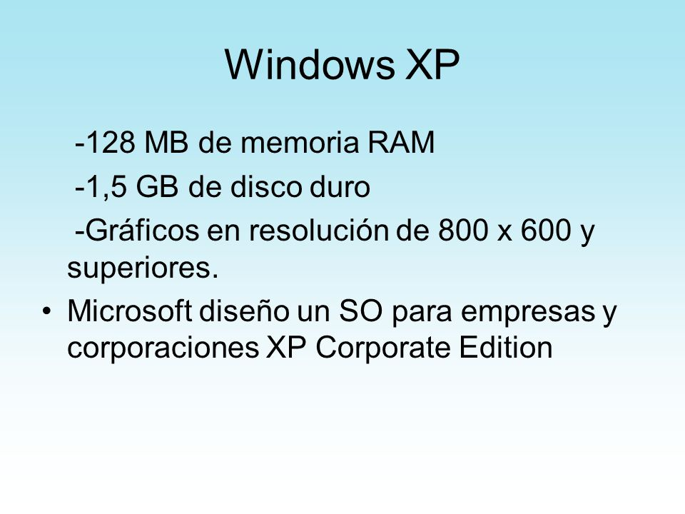 Windows XP -128 MB de memoria RAM -1,5 GB de disco duro