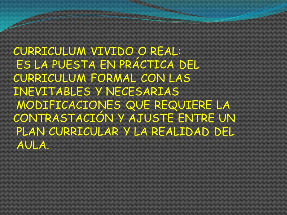 CURRICULUM VIVIDO O REAL: