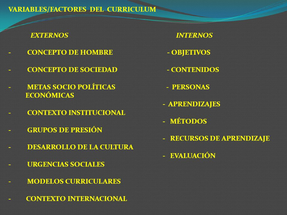 VARIABLES/FACTORES DEL CURRICULUM