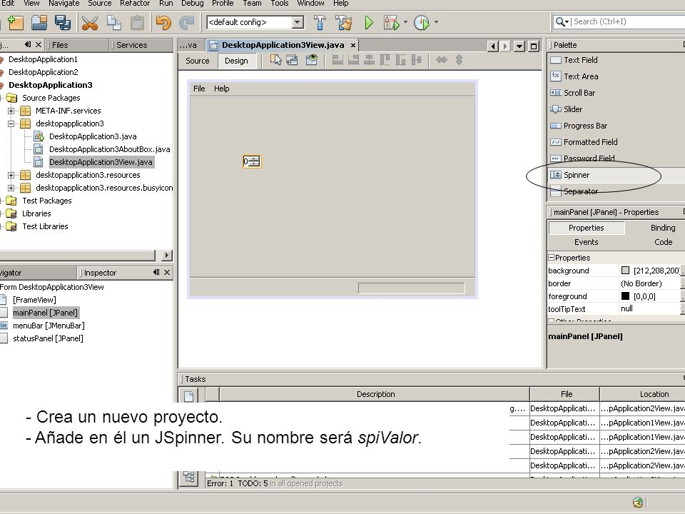JAVA: SPINNER La clase JSpinner permite crear cuadros como
