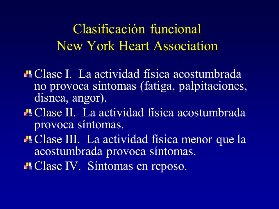 Clasificación funcional New York Heart Association